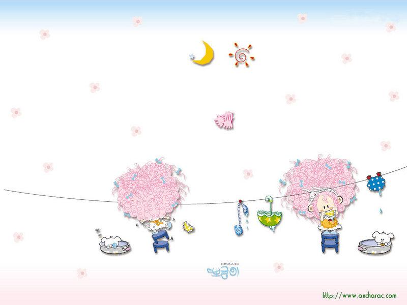 韩国可爱卡通 淡雅风格壁纸图片 第4张