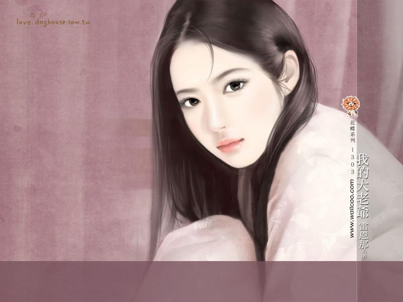 清纯手绘美女插画壁纸图片 第14张-zol壁纸库