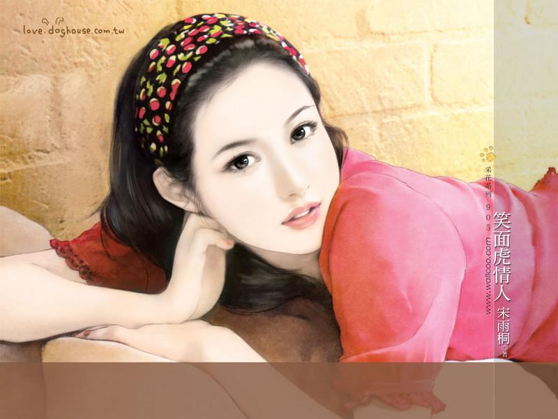 清纯手绘美女插画壁纸图片 第34张-zol壁纸库